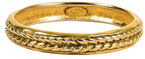 Chanel Gold Tone Braid Textured Bangle Bracelet