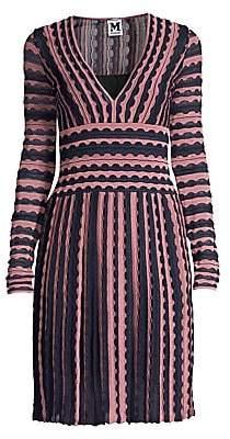 M Missoni Women's Striped Lace Eyelet V-Neck A-Line Dress