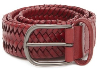 Andersons Braided Leather Belt - Burgundy