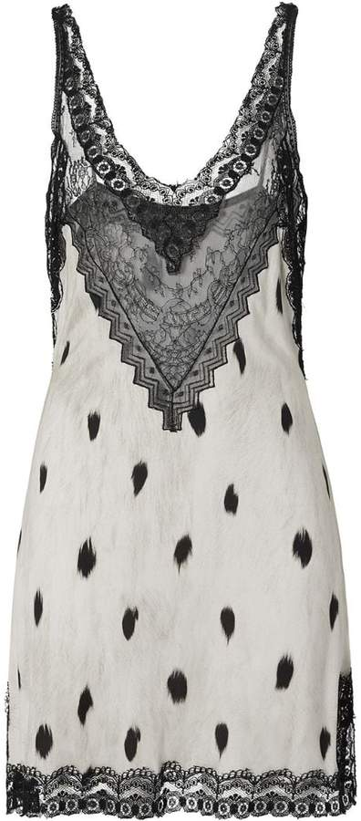 Burberry Lace Panel Animal Print Slip Dress
