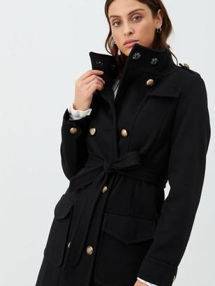 Very Funnel Neck Military Coat - Black