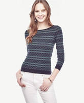 Ann Taylor Petite Striped Extrafine Merino Wool Boatneck Sweater