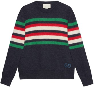 Gucci Striped wool alpaca jumper withGG