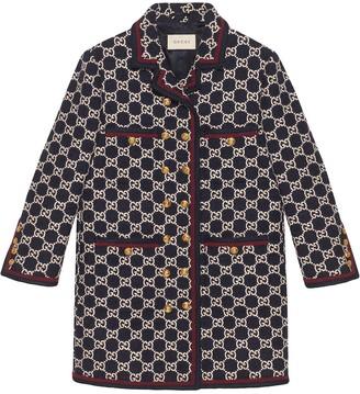 Gucci GG pattern tweed coat