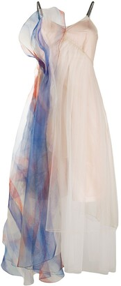 Quetsche Tulle-Detail Midi Slip Dress