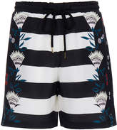 Markus Lupfer Pretty Flower Striped Silk Shorts