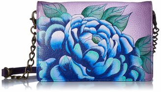 Anna by Anuschka Women's Leather Hand Painted Organizer Wallet | Precious Peony Eggplant One Size