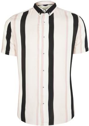 River Island Short SleeveTexture Stripe Shirt - Lilac