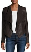 Neiman Marcus Draped Goatskin Leather Easy Jacket, Chocolate Brown