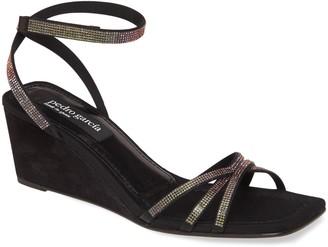 Pedro Garcia Crystal Ankle Strap Wedge Sandal
