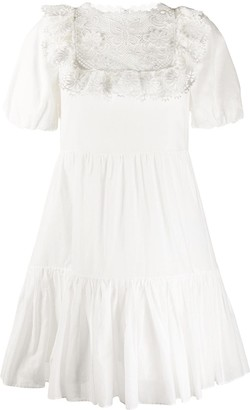 RED Valentino Embroidered Flared Mini Dress