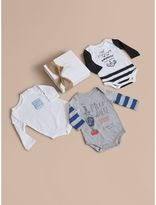 Burberry Printed Cotton Three-piece Baby Gift Set , Size: 18M, White