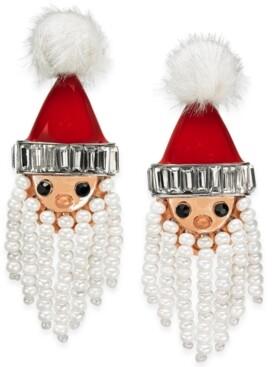 INC International Concepts Inc Silver-Tone Crystal, Bead & Pom-Pom Bead Santa Drop Earrings, Created for Macy's