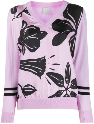 Paul Smith Floral-Print V-Neck Jumper