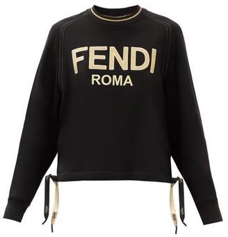 Fendi Metallic-logo Cotton-jersey Sweatshirt - Black