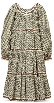 Tory Burch Printed Puffed Sleeve Midi Dress