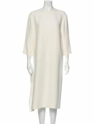 Celine Crew Neck Midi Length Dress White