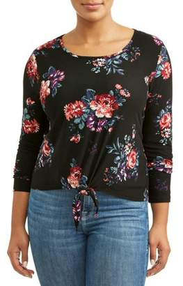 Eye Candy Women's Plus Size Printed Knotted Front Top