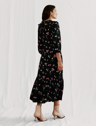 Marks and Spencer Floral Frill Detail Midi Tea Dress