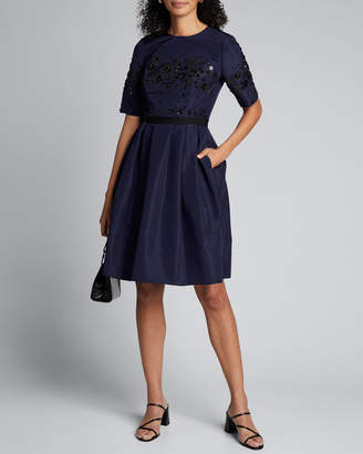 Carolina Herrera Half-Sleeve Fit-&-Flare Dress