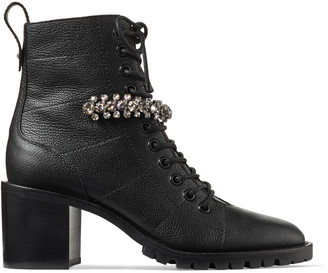 Jimmy Choo CRUZ 65 Black Grainy Leather Lace-Up Combat Boots with Crystal