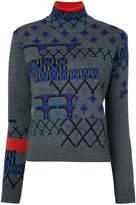 Kolor intarsia roll-neck jumper