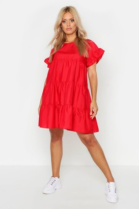 boohoo Plus Tiered Polycotton Smock Dress