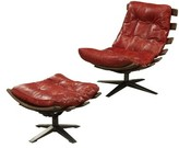 Melendez Top Grain Leather Swivel Lounge Chair and Ottoman 17 Stories Upholstery Color: Antique Red