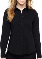 Liz Claiborne Long-Sleeve Button-Front Shirt - Tall