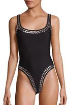Norma Kamali Marissa Metallic Studded One-Piece Swimsuit