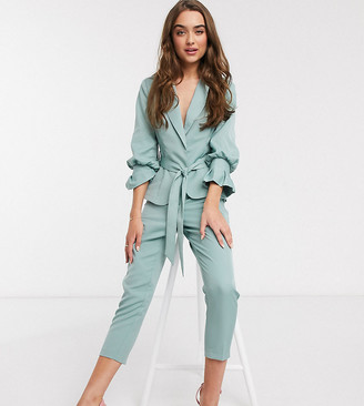 Outrageous Fortune Petite frill balloon sleeve blazer in sage