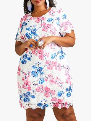 Yumi Curves Blossom Lace Tunic, Pink/Multi