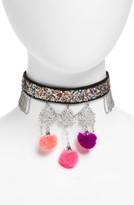Topshop Women's Glitter Pom Velvet Choker