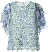 Giamba beaded floral print ruffled top
