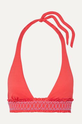 Heidi Klein Smocked Halterneck Bikini Top - Pink