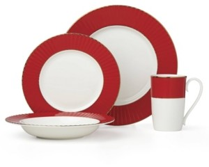 Lenox Pleated Colors Red 4 Piece Place Setting