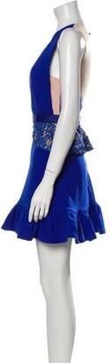 Three floor Colorblock Pattern Mini Dress Blue