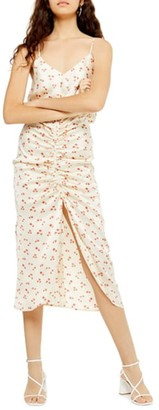 Topshop Ditsy Floral Ruched Midi Dress