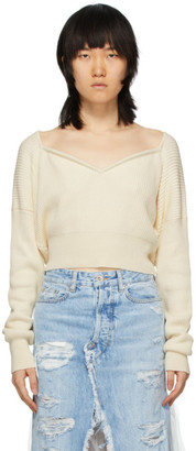 Unravel Off-White Cashmere V-Neck Sweater