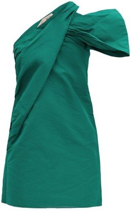 No.21 No. 21 - Half-bow One-shoulder Faille Mini Dress - Emerald