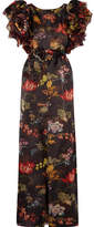 Rosie Assoulin Ruffled Floral-print Silk-organza Gown - Black