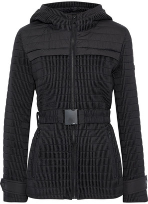 DKNY Scuba-paneled Shirred Shell Hooded Jacket