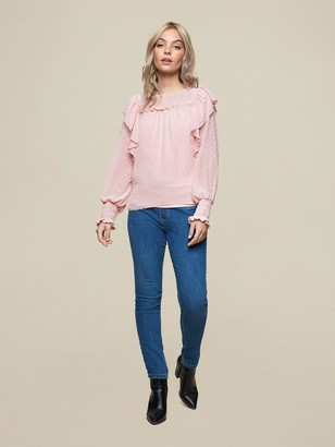 Dorothy Perkins Petite Dobby Ruffle Top -Pink