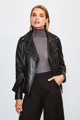 Karen Millen Leather Belted Jacket