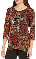 Multiples Button-Shoulders Shadow Knit Jacquard Tunic