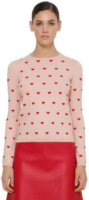 RED Valentino Heart Cashmere Blend Intarsia Sweater