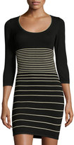 Max Studio Striped 3/4-Sleeve Sweaterdress, Black/White