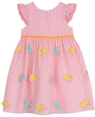 Laura Ashley Girls Coral Ruffle Sleeve Butterfly Stripe Dress
