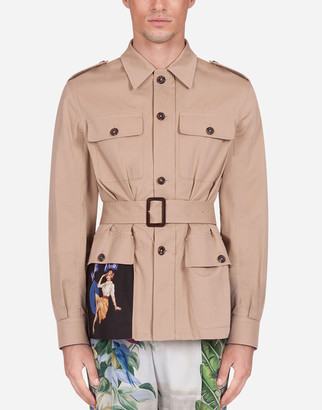Dolce & Gabbana Cotton Safari Jacket With Patch