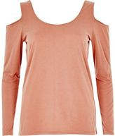 River Island Womens Pink long sleeve cold shoulder top